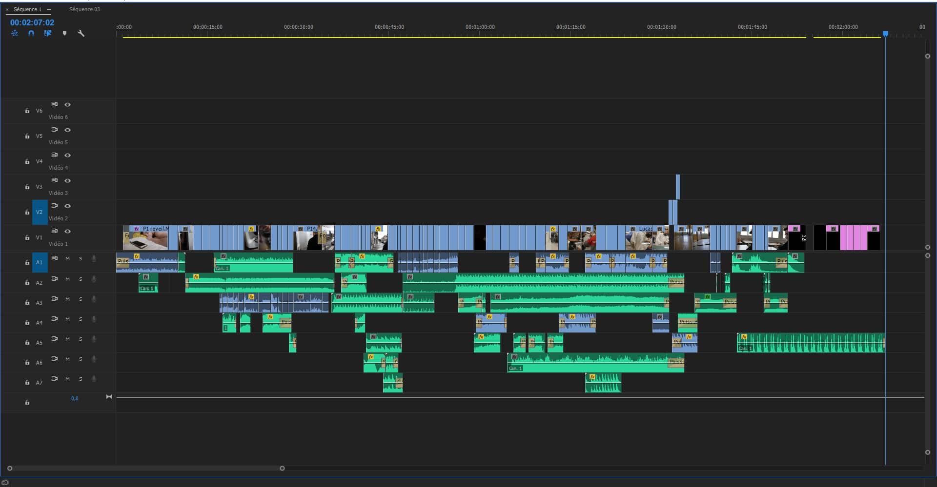 Impression écran de la ligne de temps de montage vidéo du clip réalisé à Toulouse.